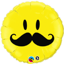 "Smile Face Mustache Foil Balloon (18"") 1pc"